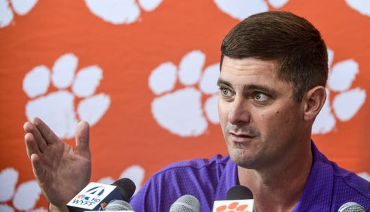 Clemson co-offensive coordinator Jeff Scott speaks during Clemson University football media interviews in Clemson Monday, October 21, 2019.
