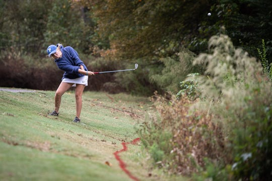 Evie Harkins, of Pickens High School, drives her ball during the Class AAAA Upper State girls golf tournament at the Preserve at Verdae, Monday, October 21, 2019.
