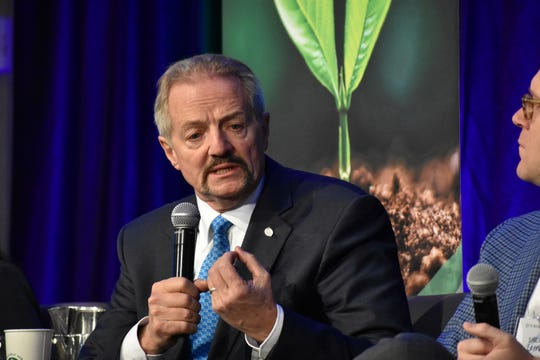 """U.S. Bureau of Land Management Acting Director William """"Perry"""" Pendley speaks at an Oct. 11 conference for journalists in Fort Collins, Colorado."""