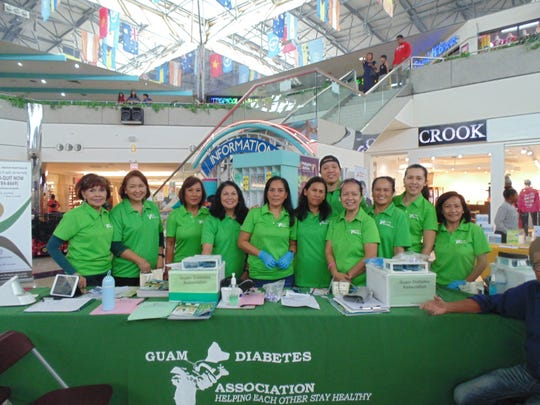 The Guam Diabetes Association conducted health screenings, blood sugar, blood pressure, cholesterol and anti-oxidant testing on Oct.19 at the Micronesia Mall. Diabetes brochures were distributed to all the participants. Pictured from left: Winnie Butler, Del Agahan, Linda Simon, Patricia Hughes, Eunice Pastrana, Yvonne Harris, Jason Topacio, Glynis Almonte, Eva Allen, Joame Topacio, and Miriam Piana. Not pictured: Nilda Antolin, and Clara Peterson.