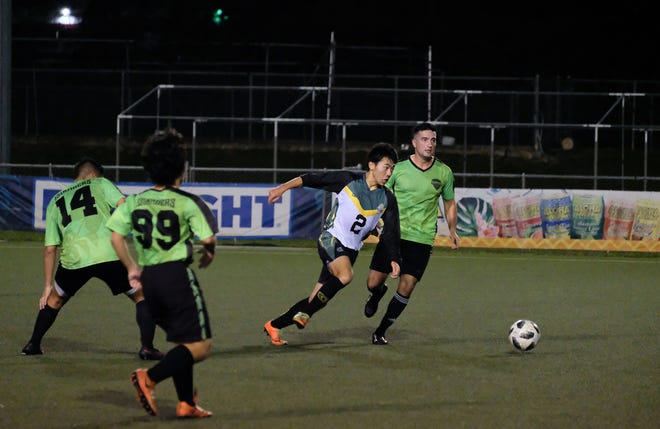 Tritons' Ryoga Okada breaks away to score one of his two goals made in the first half of the first game of the season on Oct. 19.