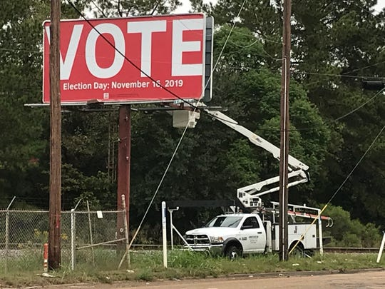 A Jackson billboard displaying an incorrect date for Mississippi's election. Election day is Nov. 5.