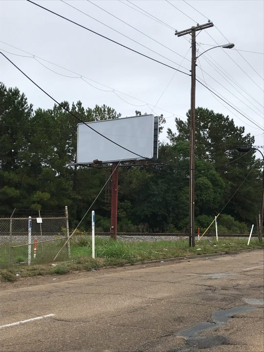 One of the Jackson billboards, which had its incorrect display flipped, making it harder to read.