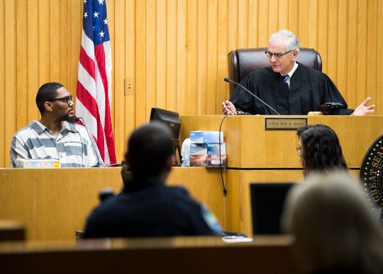 Senior Judge Walter Kurtz, right, questions George Thomas during a hearing for Lemaricus Davidson in Knox County Criminal Court on Monday, October 21, 2019.