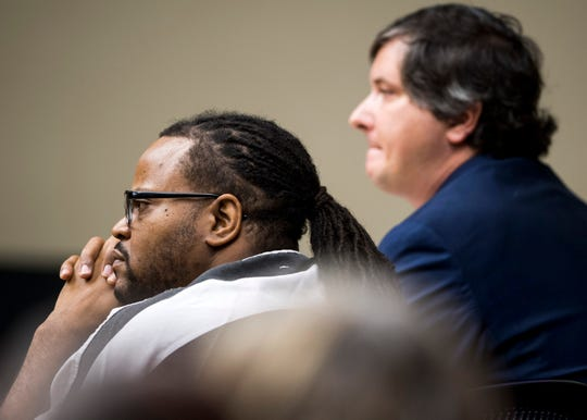Lemaricus Davidson listens as George Thomas, not pictured, is questioned on the witness stand during DavidsonÕs hearing in Knox County Criminal Court on Monday, October 21, 2019.