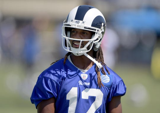 Los Angeles Rams wide receiver Shakeir Ryan (12) reacts during training camp July 30, 2017, at UC Irvine.