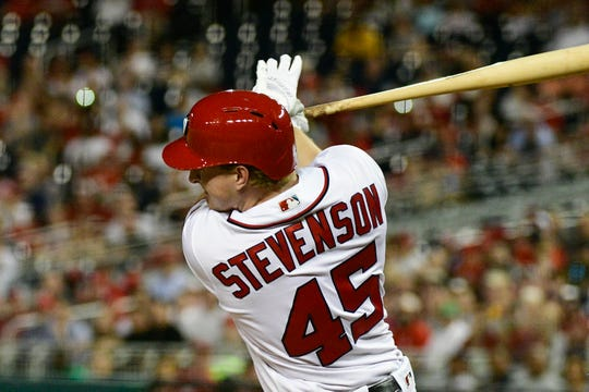 May 2, 2018: Washington Nationals center fielder Andrew Stevenson (45) hits a two-run doubleagainst the Pittsburgh Pirates at Nationals Park.
