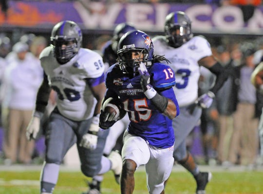 Northwestern State's Shakeir Ryan runs during a game in 2013.