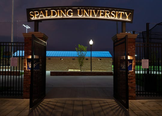 The entrance to Spalding University's new athletic complex between Eighth and Ninth Streets in Louisville.
