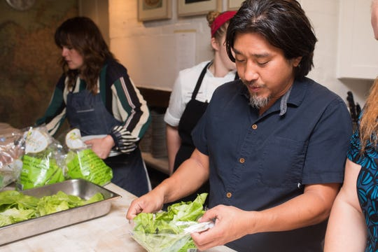 Chef Edward Lee and Lee Initiative managing director Lindsey Ofcacek at the James Beard House in New York City.