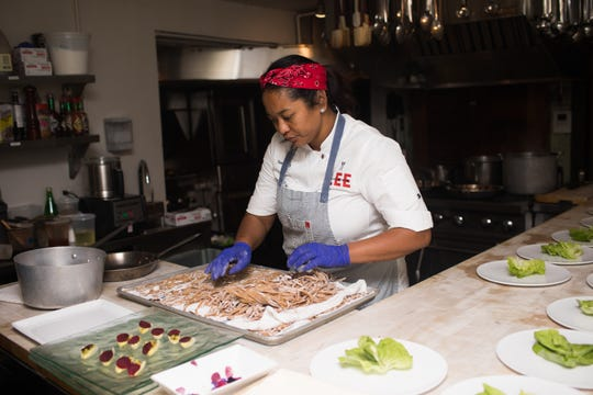Mentee Tonya Mays cooks at the James Beard House in New York City.