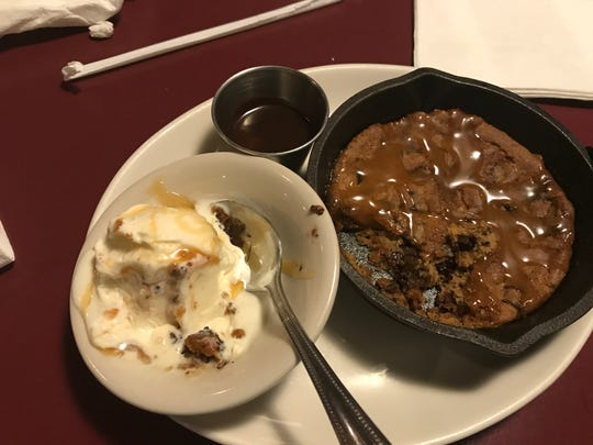 Chocolate chip cookie made fresh in a cast iron skillet at Kurtz's Pub & Deli in Two Rivers.