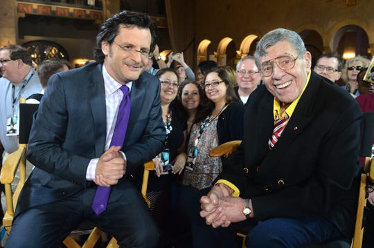 From left, Weekend daytime host of Turner Classic Movies Ben Mankiewicz and comedian Jerry Lewis at the 2014 TCM Classic Film Festival in Hollywood, California. Photo by Alberto E. Rodriguez/WireImage