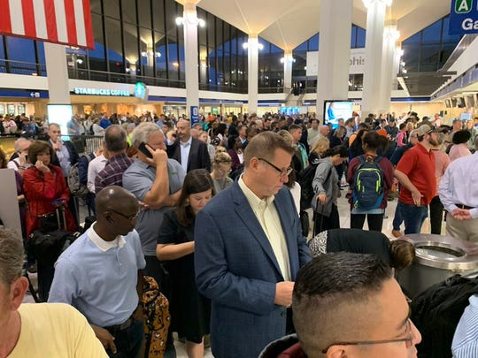 Passengers in Memphis International ushered towards restrooms after a tornado watch and tornado warning were issued by the National Weather Service for parts of the Mid-South on Monday morning.