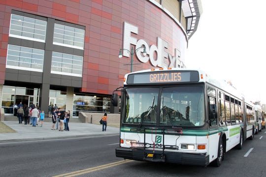 A MATA bus sits outside the FedExForum. Memphis' public transit agency says it's underfunded by $30 million annually.