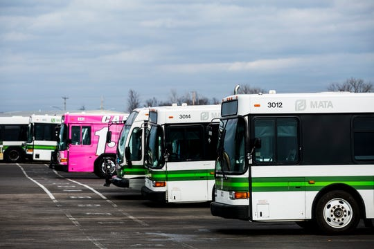 MATA buses are parked behind the operations building at 1370 Levee Rd.