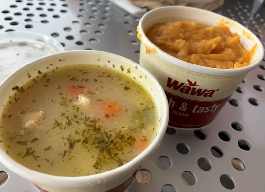 The chicken noodle soup and sweet potatoes from Wawa, South Naples.