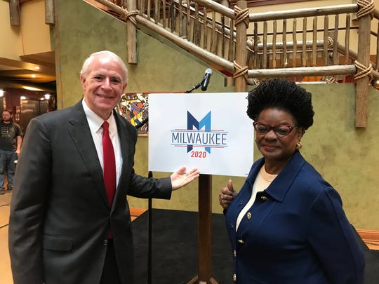 Milwaukee Mayor Tom Barrett and U.S. Rep. Gwen Moore were named as co-chairs of the host committee for the 2020 Democratic National Convention.