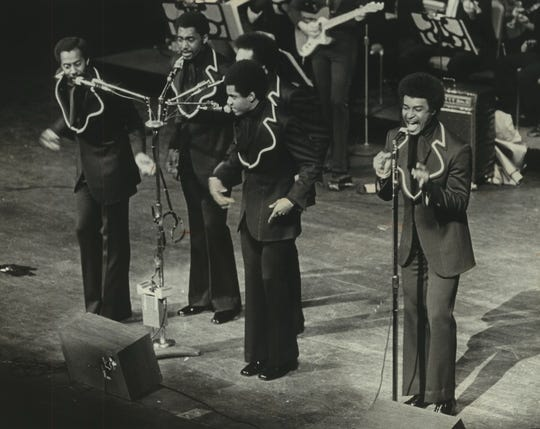 The Temptations perform at the Performing Arts Center on Sept. 21, 1972, for the first of five shows during a three-day stay in Uihlein Hall. This photo was published in the Sept. 22, 1972, Milwaukee Sentinel.