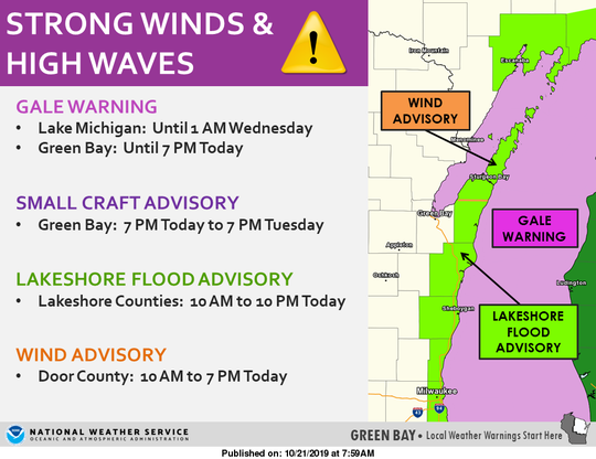 Strong winds are expected to whip up high waves on Lake Michigan on Monday.