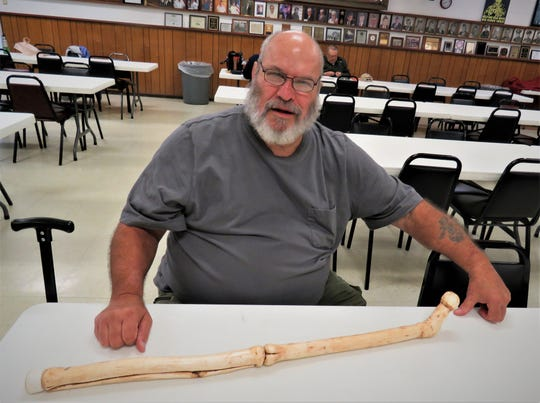Marty Wells, President of the North Arkansas Woodcarvers Club President, shows his finished wood carving,along with fellow carvers Show and Tell about their projects in wood. Woodcarvers have started with Beginner's Classes to show various aspects of woodcarving. Graduate carvers then learn more of the style they feel comfortable doing. Instructors teach members how to improve their carvings to look like works of art.This depends on the carver's skills and practice that takes time.The NAWC meet on Thursdays at the VFW Post 3246 in Mountain Home, locatedjust west of the Mountain Home Fire Department at 7th and Gray Streets. For information, contact Wells at (870) 656-6963.