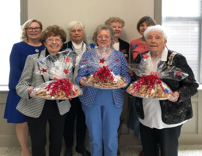 To commemorate the National Daughters of American Revolution (DAR) Day of Service in October —the month of the National Society's founding in 1890 —members of the Captain Nathan Watkins Chapter packaged homemade goodies to presentto the Baxter County Sheriff's Department, the Mountain Home Police Department and the Mountain Home Fire Department to thank them for their service to our community. Pictured are: (first row, from left)Charlotte Barnhart,Janet Emery,JoBelle Zimmerman, (second row)Caroline Carroll, Jo Anne Dukes, Jan Paul and Sally Soderblom.