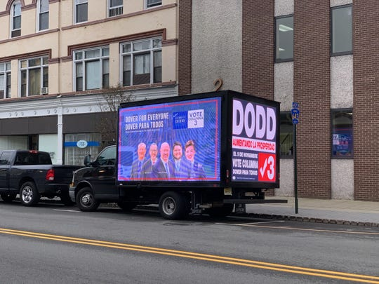 Mayor James Dodd's, Dover For Everyone LED truck plays music and video as it drives around the town.