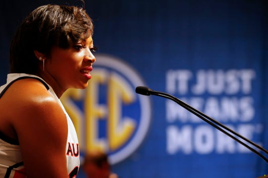 Auburn's Unique Thompson speaks during the Southeastern Conference NCAA college basketball media day, Thursday, Oct. 17, 2019, in Birmingham, Ala. (AP Photo/Butch Dill)