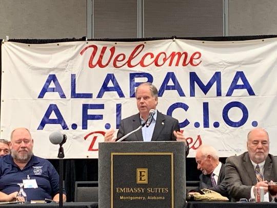 U.S. Sen. Doug Jones, D-Ala., speaks to the Alabama AFL-CIO on October 21, 2019.