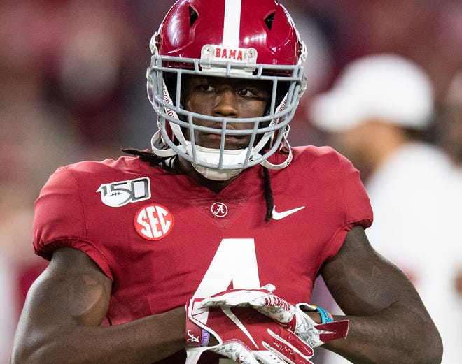 Alabama wide receiver Jerry Jeudy (4) before the Alabama vs. Tennessee game at Bryant Denny Stadium in Tuscaloosa, Ala., on Saturday October 19, 2019.
