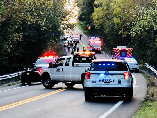 The scene of a fatal wreck on Highway 70 in Dickson County, near Montgomery Bell State Park, on Sunday afternoon.