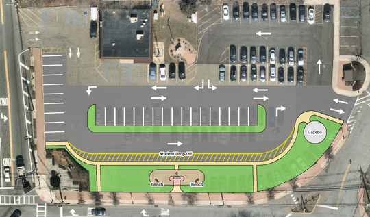 More parent parking is provided in the reconfigured Veterans Park parking lot in Franklin Lakes across Pulis Avenue from Franklin Avenue (at left) from Franklin Avenue Middle School.