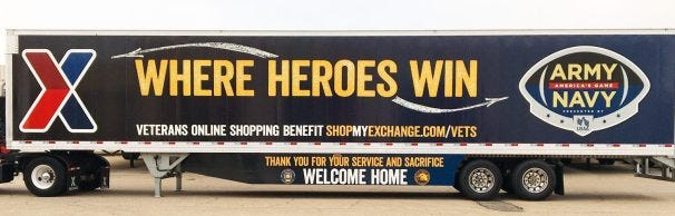 """Exchange's """"Where Heroes Win"""" truck hits the road ahead of the Army-Navy Game with a special message for Veterans about tax-free shopping."""