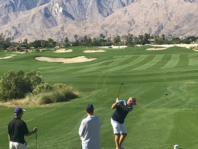 Golfers are still hitting the first tee at desert courses in the middle of the coronavirus threat and government suggestions of staying at home.