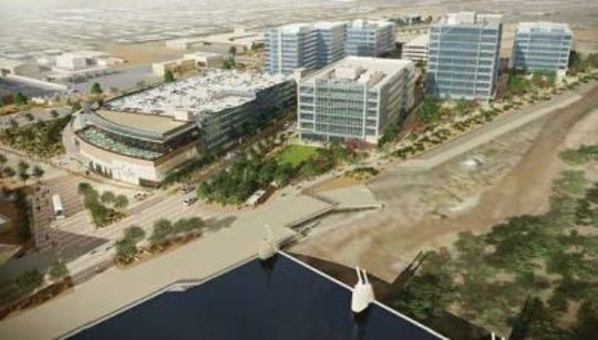 When completed, IDEA Tempe, on the west end of Tempe Town Lake, will feature offices, a hotel, restaurants and art space.