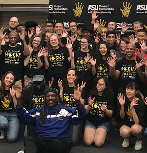 Hacks for Humanity members pose for a photo. The event is a 36-hour competition at Arizona State University to create technological solutions to everyday problems.