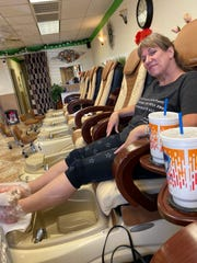 "Seated in the cushy massage chair, my bare feet in the hands of the technician, I squirmed. ""Relax,"" Jennifer, the shop's manager, told me. I'm TRYING."