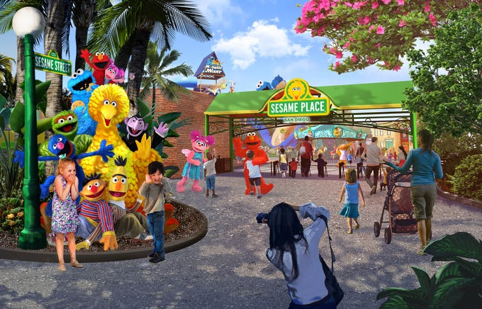 An artist rendering of Sesame Place, coming to San Diego in spring, 2021.