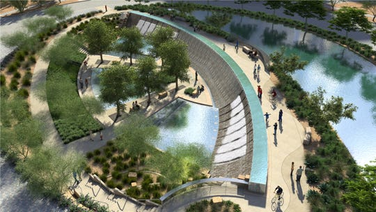 A water feature representing the Roosevelt Dam is the focal point of The Grand at Papago Park, a 58-acre business park just north of Loop 202 in Tempe.