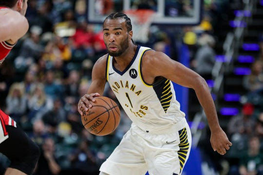 Indiana Pacers forward T.J. Warren (1) during the first half of an NBA preseason basketball game against the Chicago Bulls in Indianapolis, Friday, Oct. 11, 2019. (AP Photo/Michael Conroy)