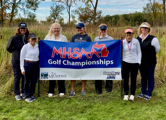 The Marysville girls golf team placed sixth at the Division 3 state championship Oct. 18-19 at The Meadows at Grand Valley State University. Pictured are (l-r) Wendy Palmateer, Jordyn Roberge, Anna Tovarez, Jadeyn Sattler, Sydney Anger, Madeline Blum and assistant Brenda Simpson.