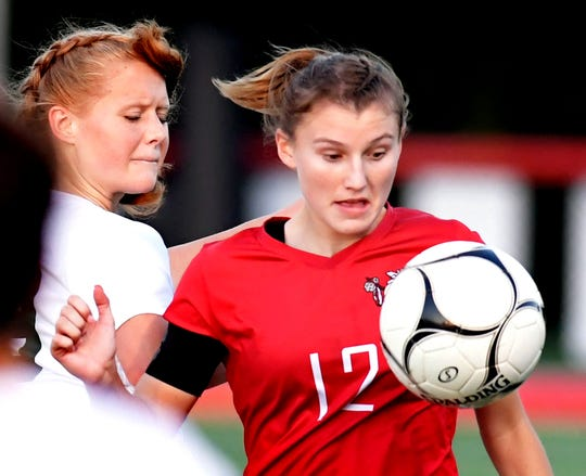 Susquehannock's Ashlynn Weger controls the ball ahead of Twin Valley's Sophie Harple in District 3 Class 3-A soccer action at Susquehannock High School Monday, October 21, 2019. Bill Kalina photo