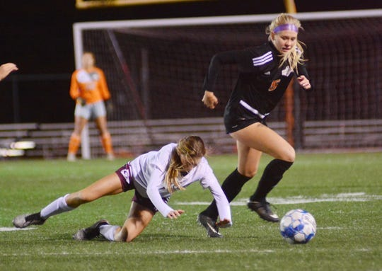 Central York's Britlyn Higgins looks to move the ball up the field against Gettysburg during the York-Adams League girls' soccer title game at Northeastern High School on Saturday, Oct. 19, 2019. The status of 2020 fall sports in Pennsylvania remains uncertain.