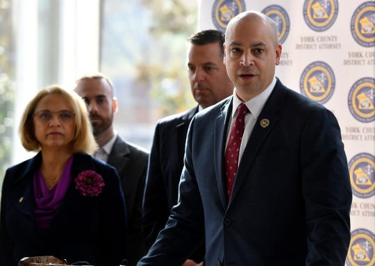 York County District Attorney Dave Sunday, right, is joined by York College President Pamela Gunter-Smith, left, and US Attorney Dave Freed, to discuss collaborative partnership aimed at reducing violent crime in the City of York through a systematic data-driven approach, Monday, October 21, 2019.