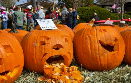 """Brody Cloud won one of three prizes for his """"Barfy"""" jack-o-lantern."""