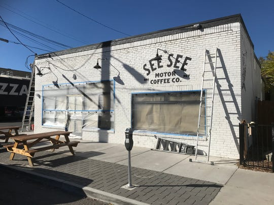 Construction work appears to be proceeding at See See Motor Coffee Co. on Pine Street at South Center Street. The coffee house abruptly closed sometime during the weekend of Oct. 18, 2019.