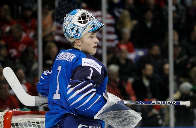 Ukko-Pekka Luukkonen of Finland looks up ice after allowing a goal versus the USA at the IIHF World Junior Championships at the Save-on-Foods Memorial Centre on December 31, 2018 in Victoria, British Columbia, Canada.
