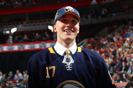 Ukko-Pekka Luukkonen celebrates after being selected 54th overall by the Buffalo Sabres during the 2017 NHL Draft at the United Center on June 24, 2017 in Chicago, Illinois.
