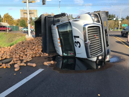 A truck carrying squash rolled over on Cordon Road Monday morning.