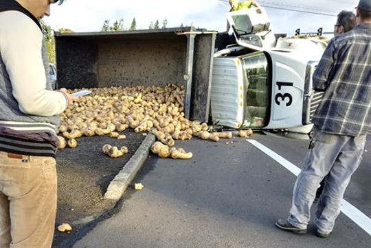 A truck rollover blocked a lane of Cordon Road Monday morning at Silverton Road.